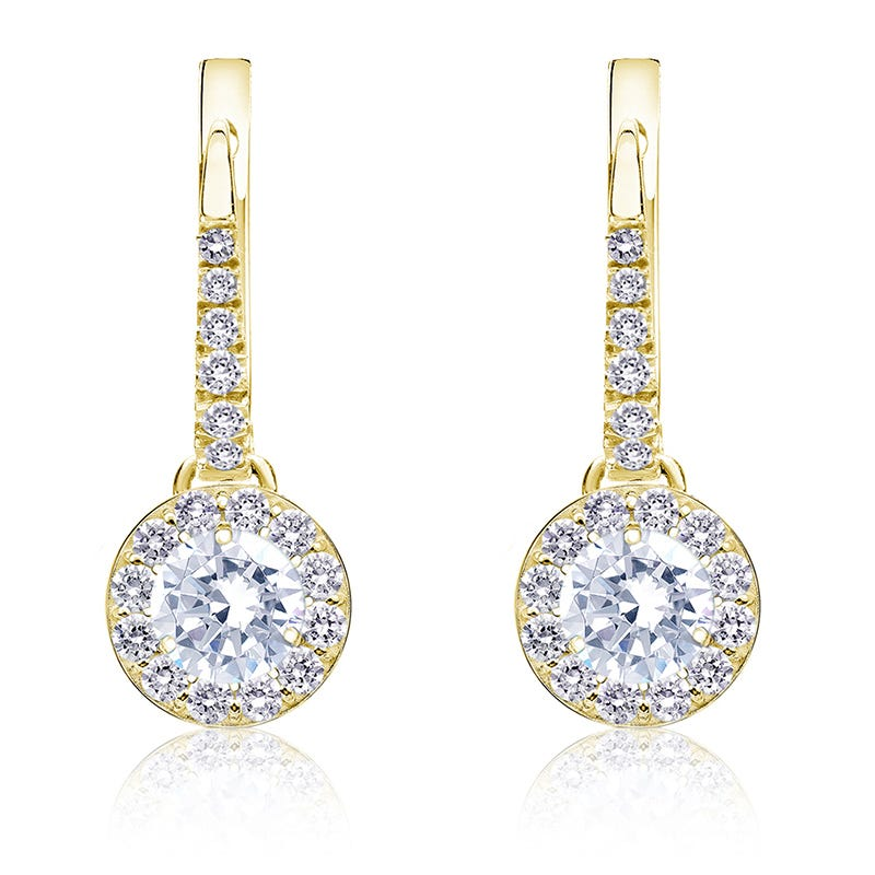Diamond Halo ¾ct. t.w. Dangle Earrings in 14k Yellow Gold