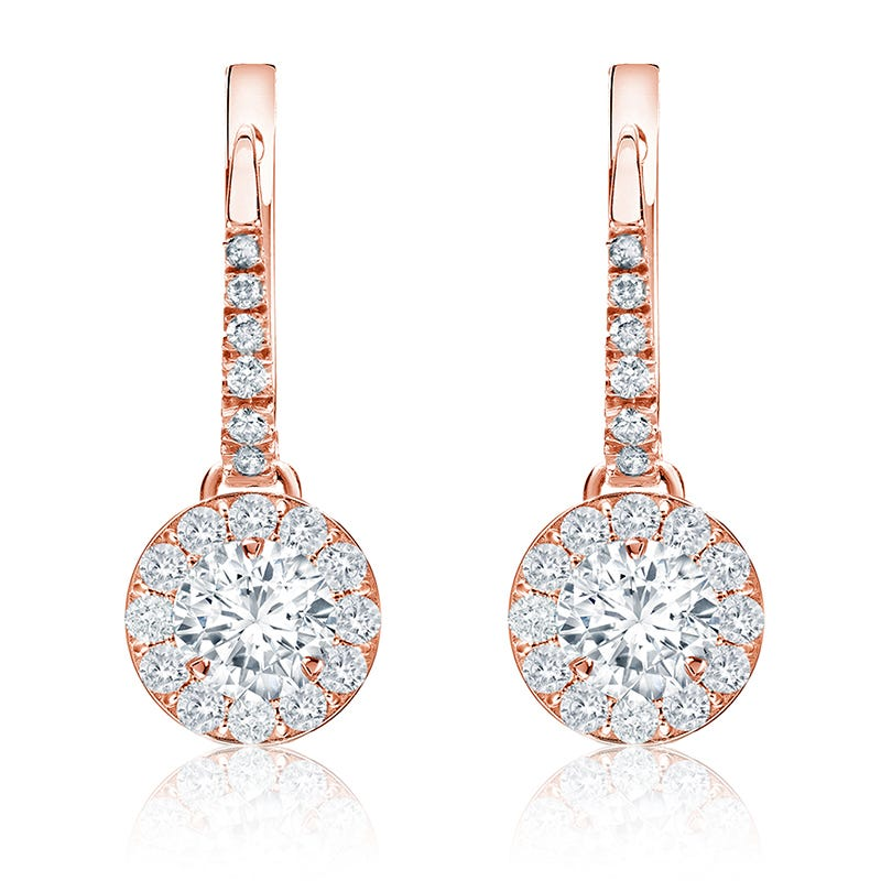 Diamond Halo 1ct. t.w. Dangle Earrings in 14k Rose Gold