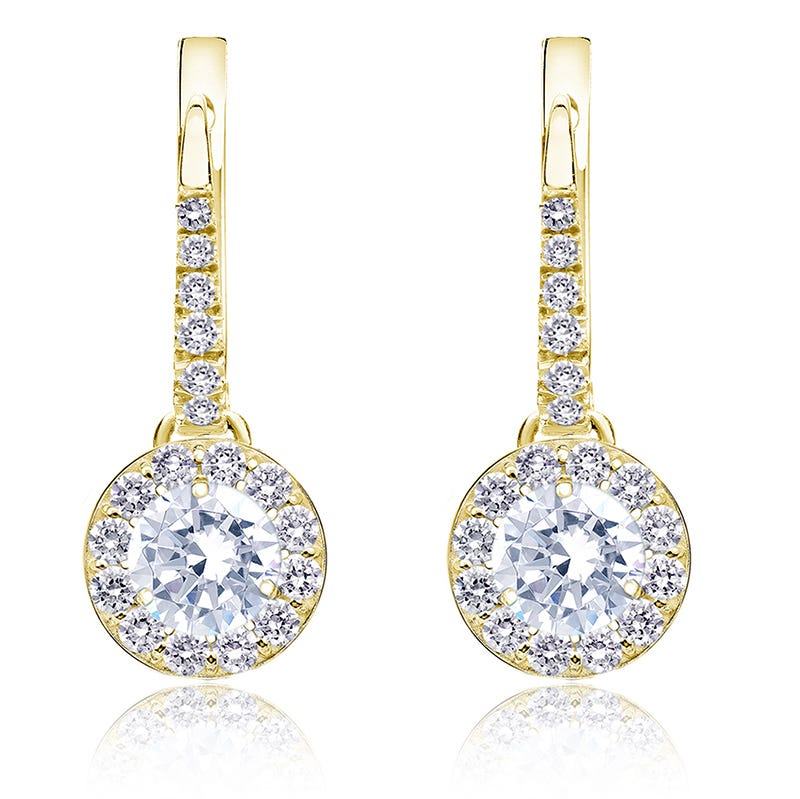 Diamond Halo 1ct. t.w. Dangle Earrings in 14k Yellow Gold