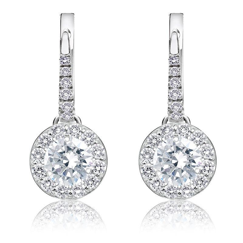 Drop 1½ct. Diamond Halo Earrings in 14k White Gold
