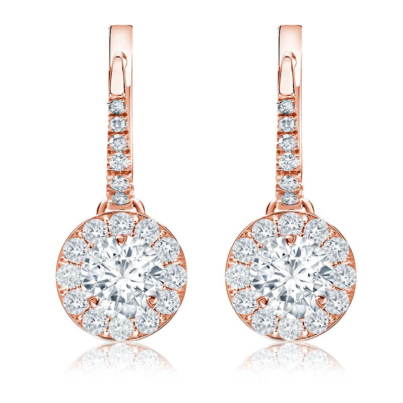 Drop 1½ct. Diamond Halo Earrings in 14k Rose Gold