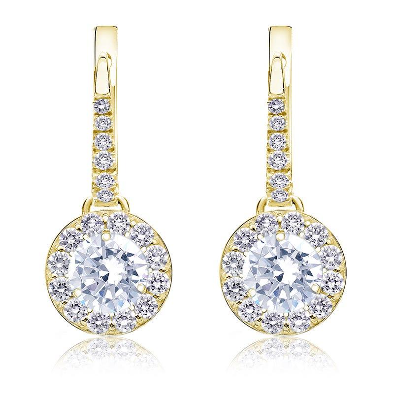 Drop 1½ct. Diamond Halo Earrings in 14k Yellow Gold