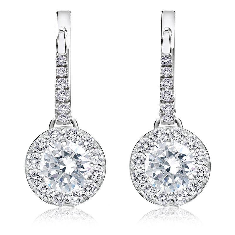 Drop 2ct. Diamond Halo Earrings in 14k White Gold