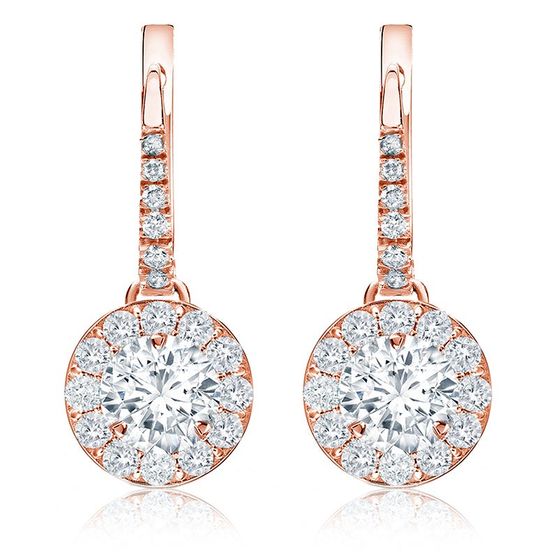 Drop 2ct. Diamond Halo Earrings in 14k Rose Gold