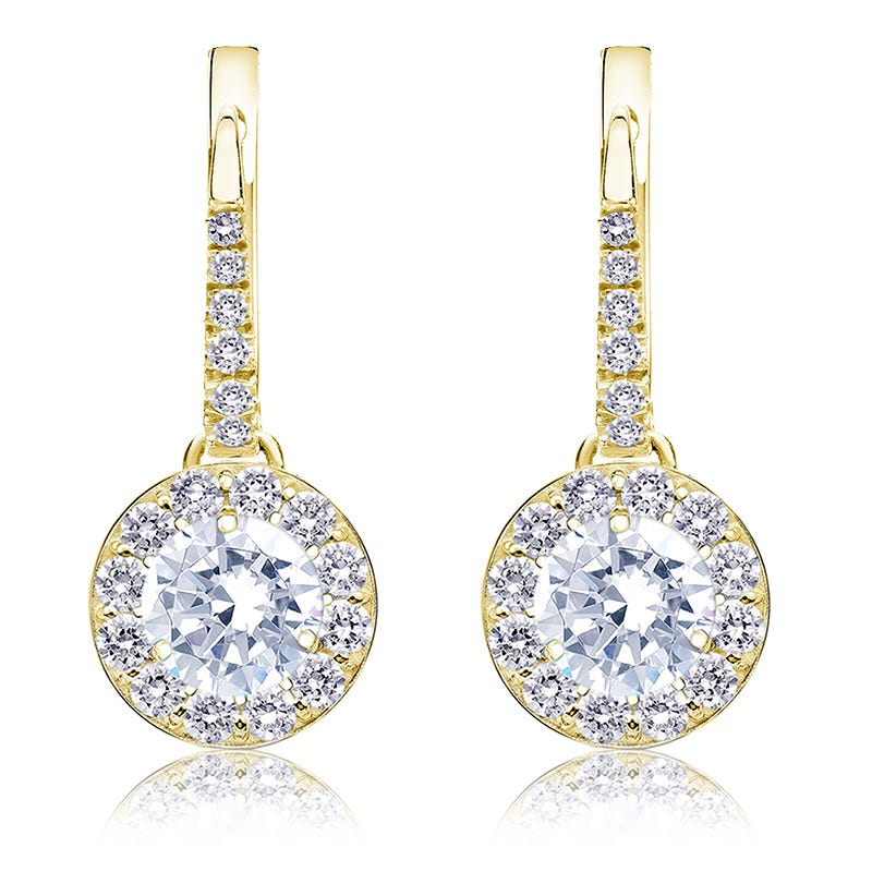Drop 2ct. Diamond Halo Earrings in 14k Yellow Gold