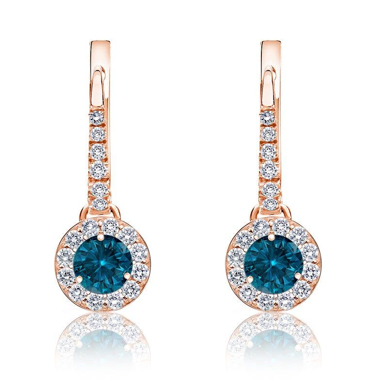 Drop ½ct. Blue Diamond Halo Earrings in 14k Rose Gold