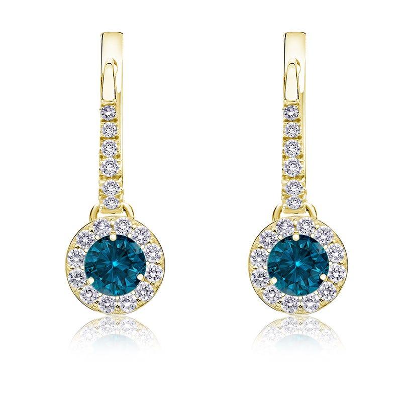 Drop 1/2ct. Blue Diamond Halo Earrings in 14k Yellow Gold