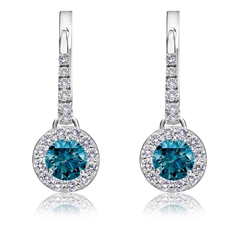 Drop ¾ct. Blue Diamond Halo Earrings in 14k White Gold
