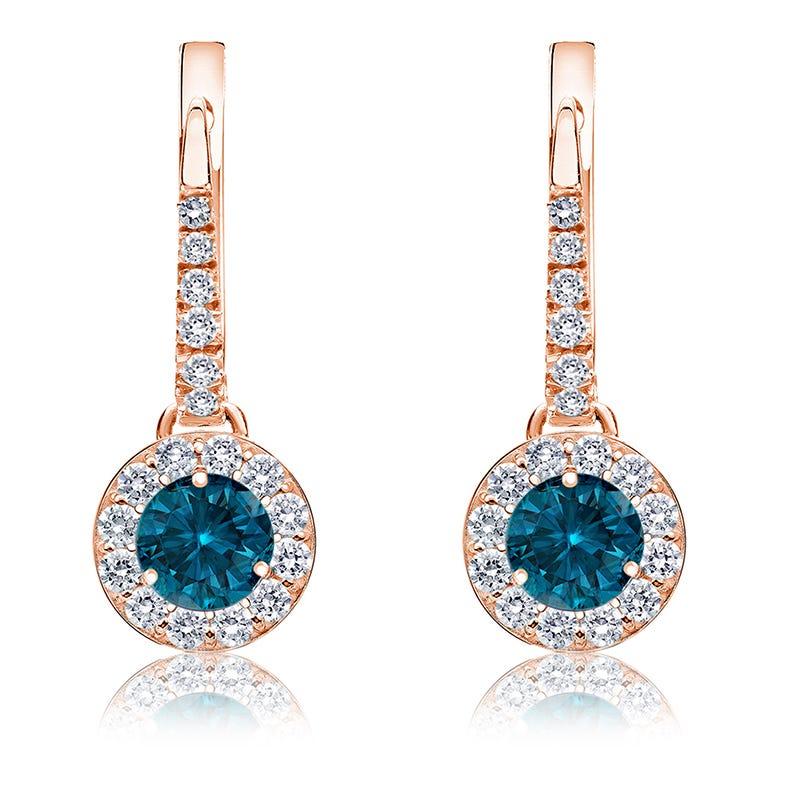 Drop ¾ct. Blue Diamond Halo Earrings in 14k Rose Gold