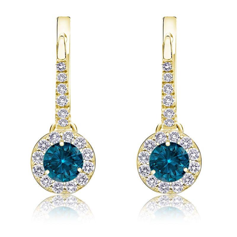 Drop ¾ct. Blue Diamond Halo Earrings in 14k Yellow Gold