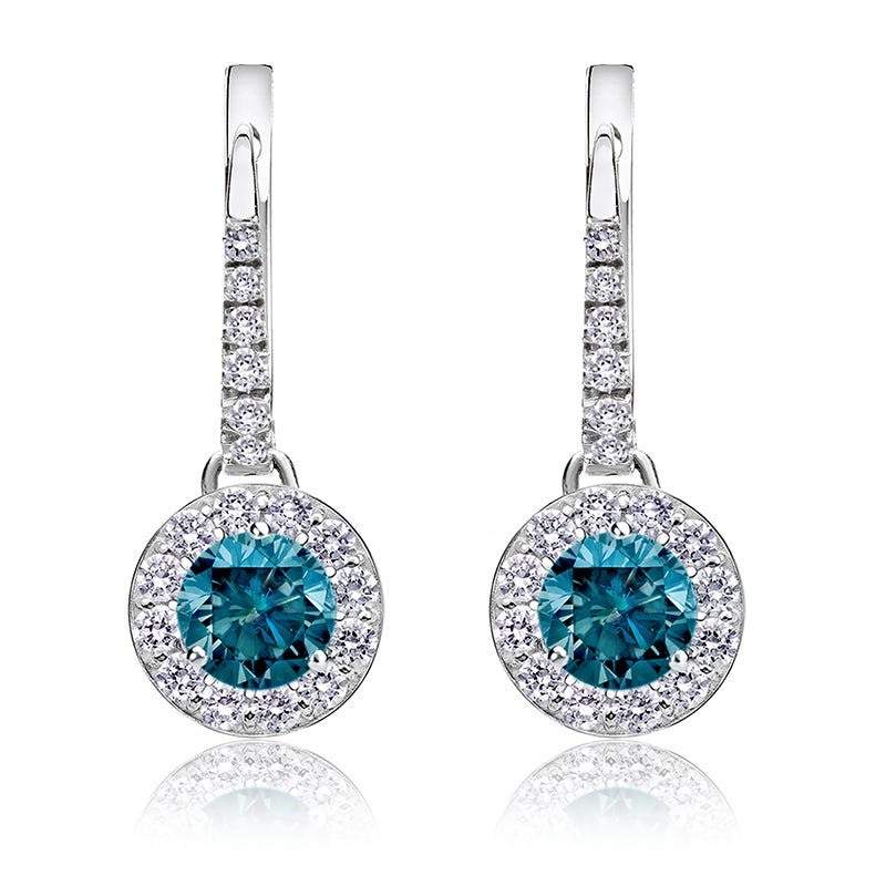Drop 1ct. Blue Diamond Halo Earrings in 14k White Gold
