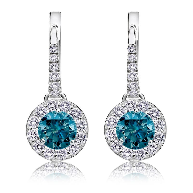 Drop 1½ct. Blue Diamond Halo Earrings in 14k White Gold