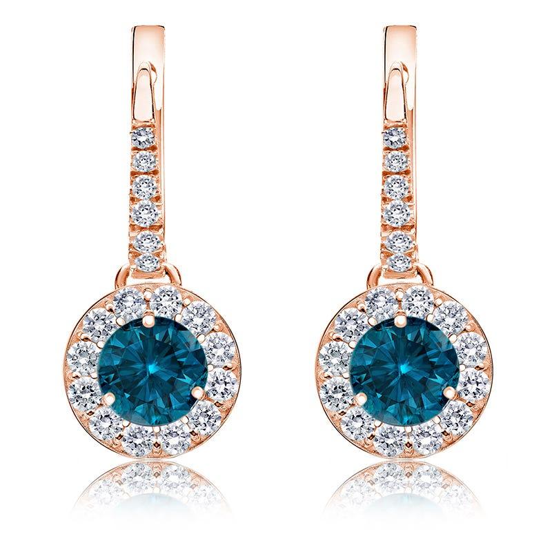 Drop 1 1/2ct. Blue Diamond Halo Earrings in 14k Rose Gold