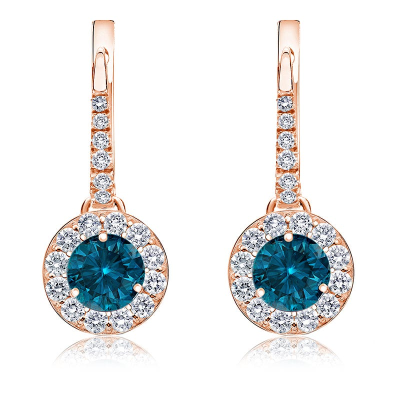 Drop 2ct. Blue Diamond Halo Earrings in 14k Rose Gold
