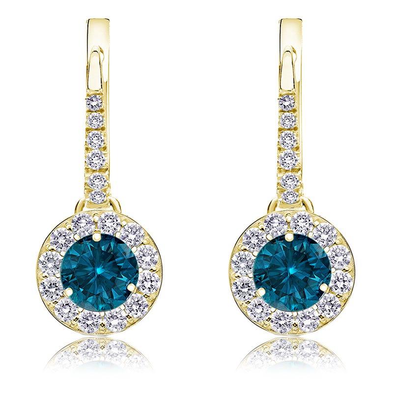 Drop 2ct. Blue Diamond Halo Earrings in 14k Yellow Gold