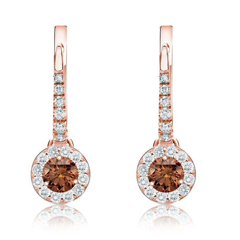 Champagne ½ct. Drop Diamond Halo Earrings in 14k Rose Gold