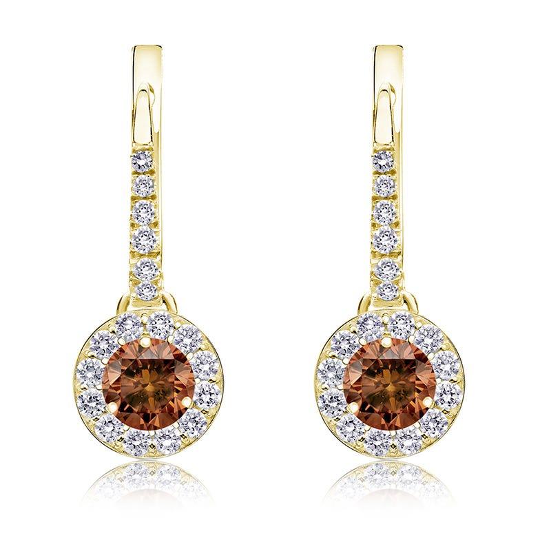Champagne ¾ct. Drop Diamond Halo Earrings in 14k Yellow Gold