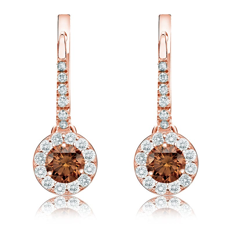 Champagne 1ct. Drop Diamond Halo Earrings in 14k Rose Gold