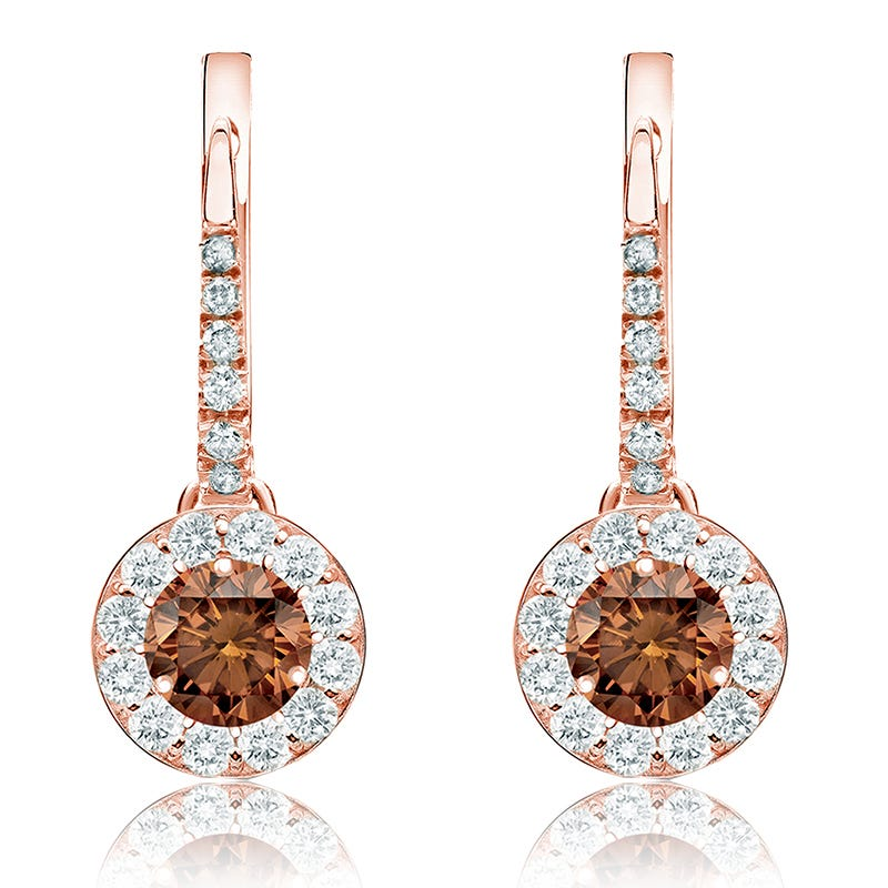 Champagne 2ct. Drop Diamond Halo Earrings in 14k Rose Gold