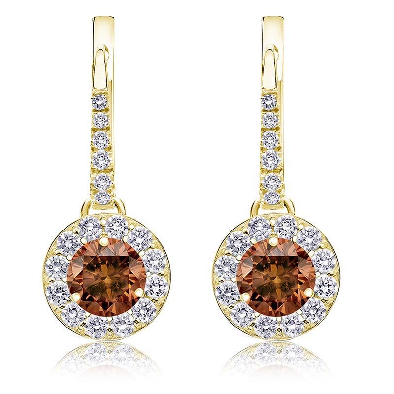 Champagne 2ct. Drop Diamond Halo Earrings in 14k Yellow Gold