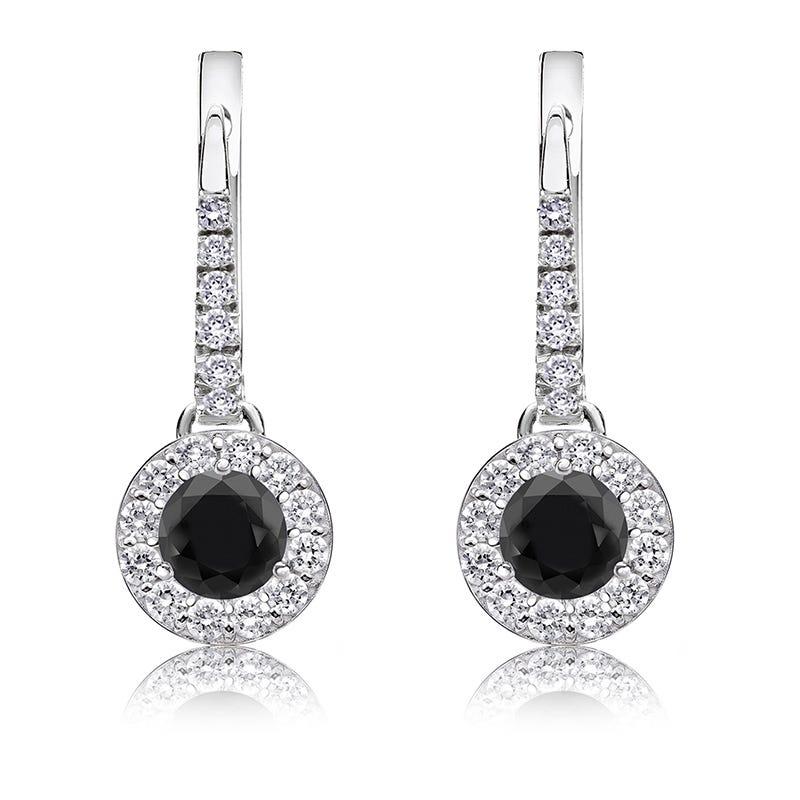 Black Diamond Halo 3/4ct. Drop Earrings in 14k White Gold