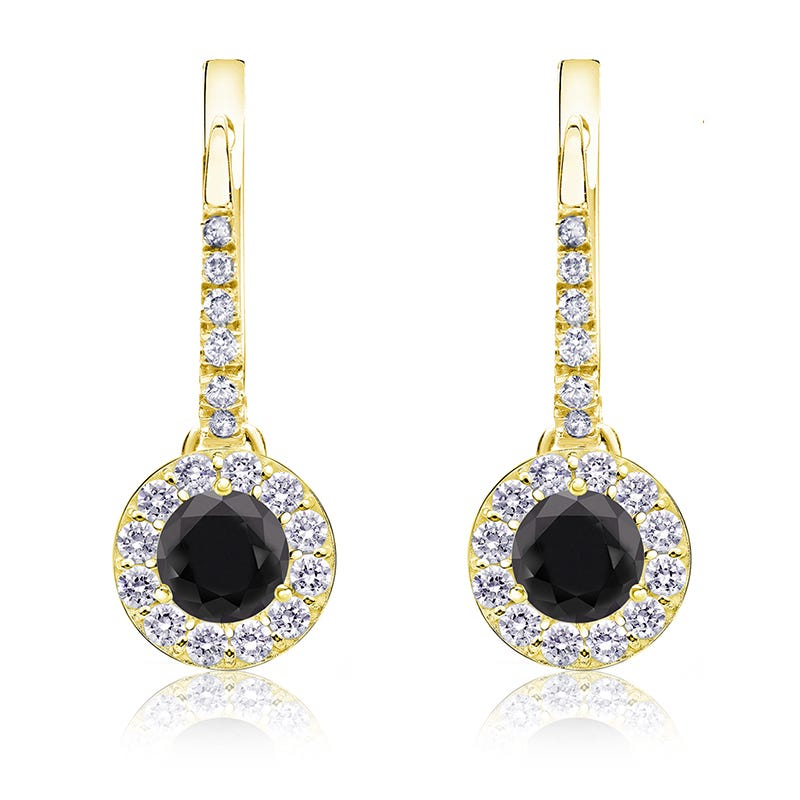 Black Diamond Halo ¾ct. Drop Earrings in 14k Yellow Gold
