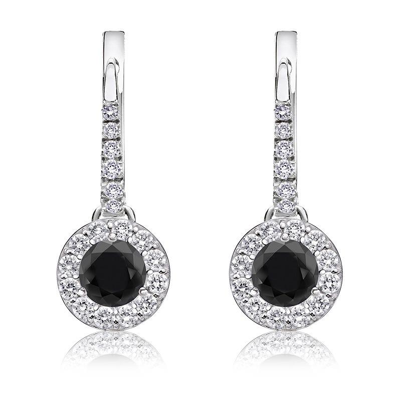 Black Diamond Halo 1ct. Drop Earrings in 14k White Gold