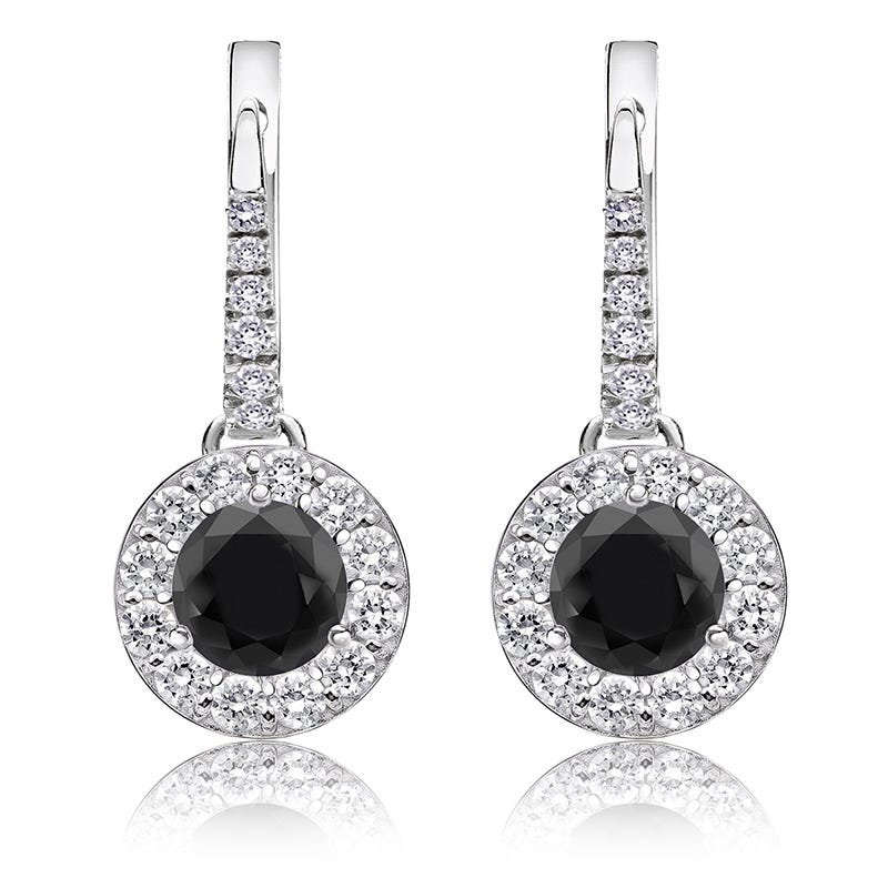 Black Diamond Halo 1 1/2ct. Drop Earrings in 14k White Gold