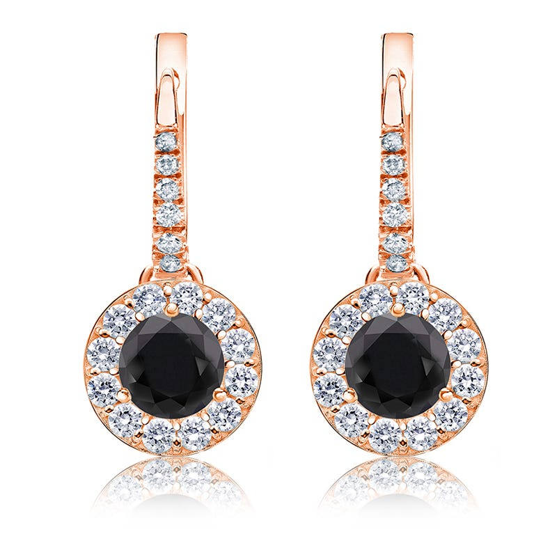 Black Diamond Halo 1 1/2ct. Drop Earrings in 14k Rose Gold