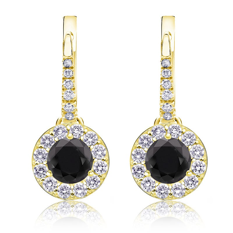 Black Diamond Halo 1 1/2ct. Drop Earrings in 14k Yellow Gold