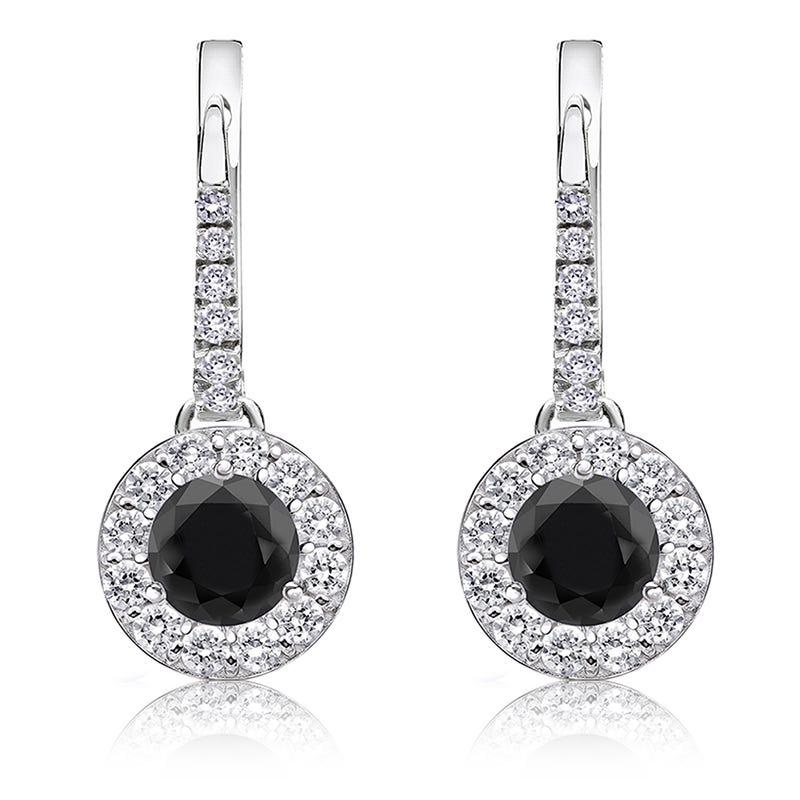 Black Diamond Halo 2ct. Drop Earrings in 14k White Gold