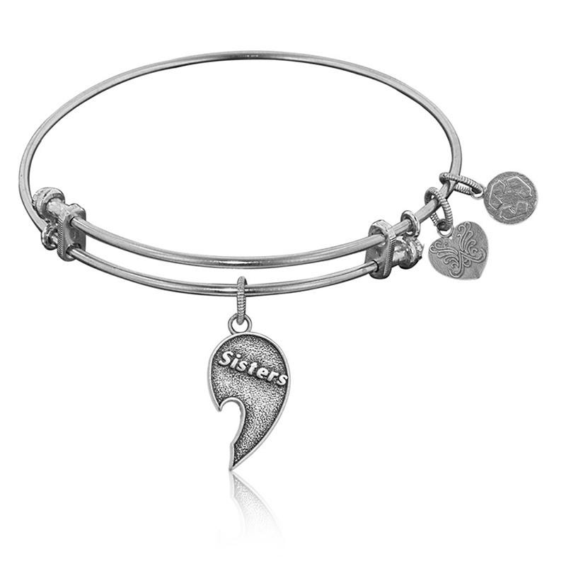 Sisters Right-Half Charm Bangle Bracelet in White Brass