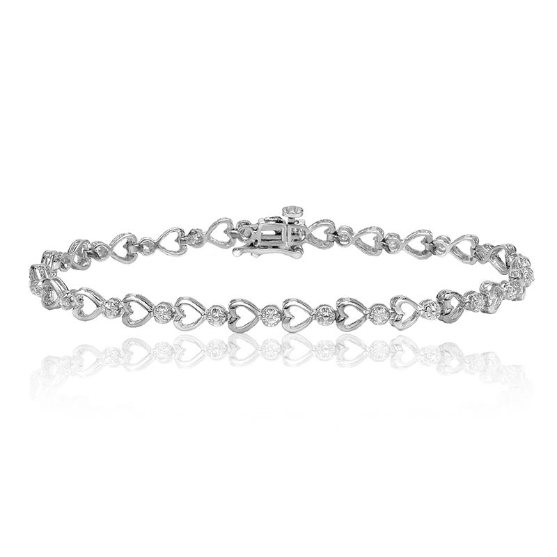 Heart-Link ¼ct. Diamond Bracelet in 14k White Gold