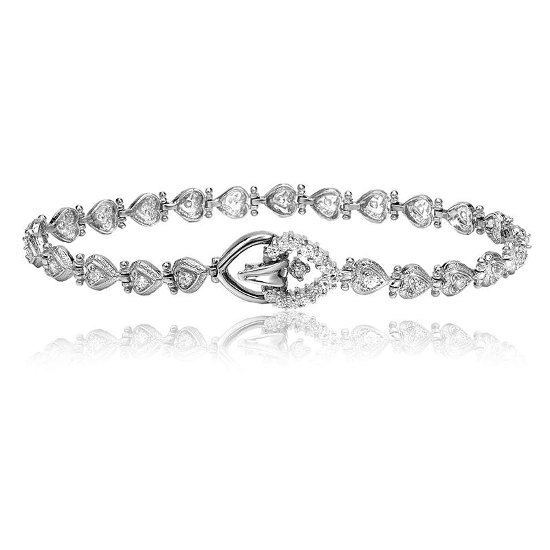 Heart ¾ct. Diamond Bracelet in 14k White Gold