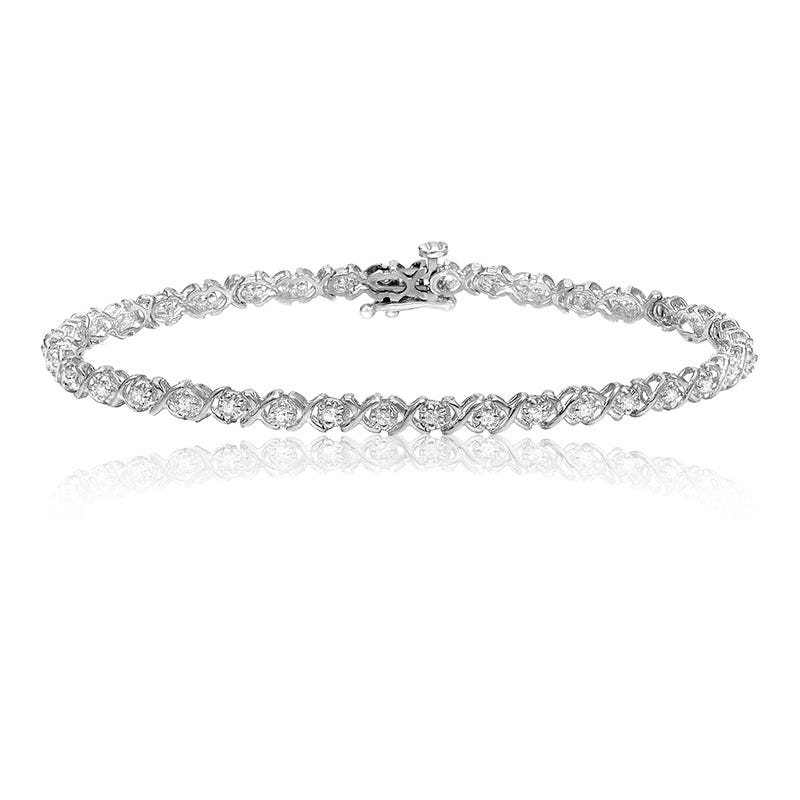XO 1ct. Diamond Bracelet in 14k White Gold