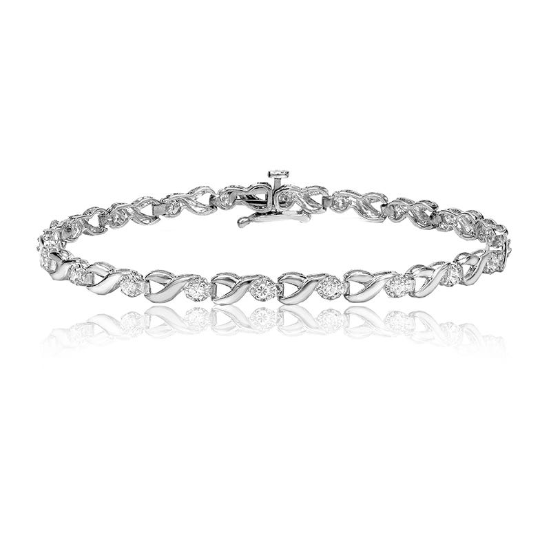 Open-Link 1ct. Diamond Bracelet in 14k White Gold