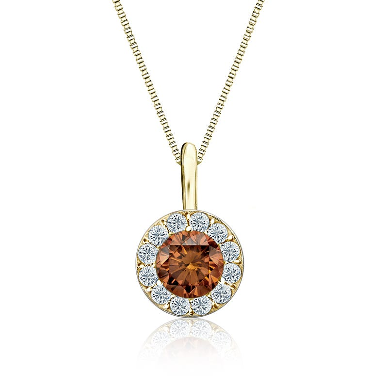 Champagne & White 1/2ct. Diamond Halo Pendant in 14k Yellow Gold