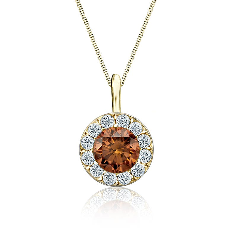 Champagne & White Diamond ¾ct. Halo Pendant in 14k Yellow Gold