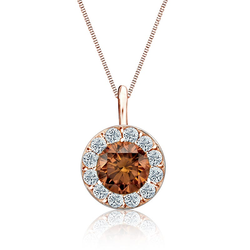 Champagne & White Diamond 1½ ct. Halo Pendant in 14k Rose Gold