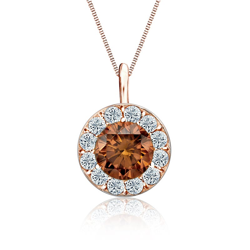 Champagne & White 2ct. Diamond Halo Pendant in 14k Rose Gold