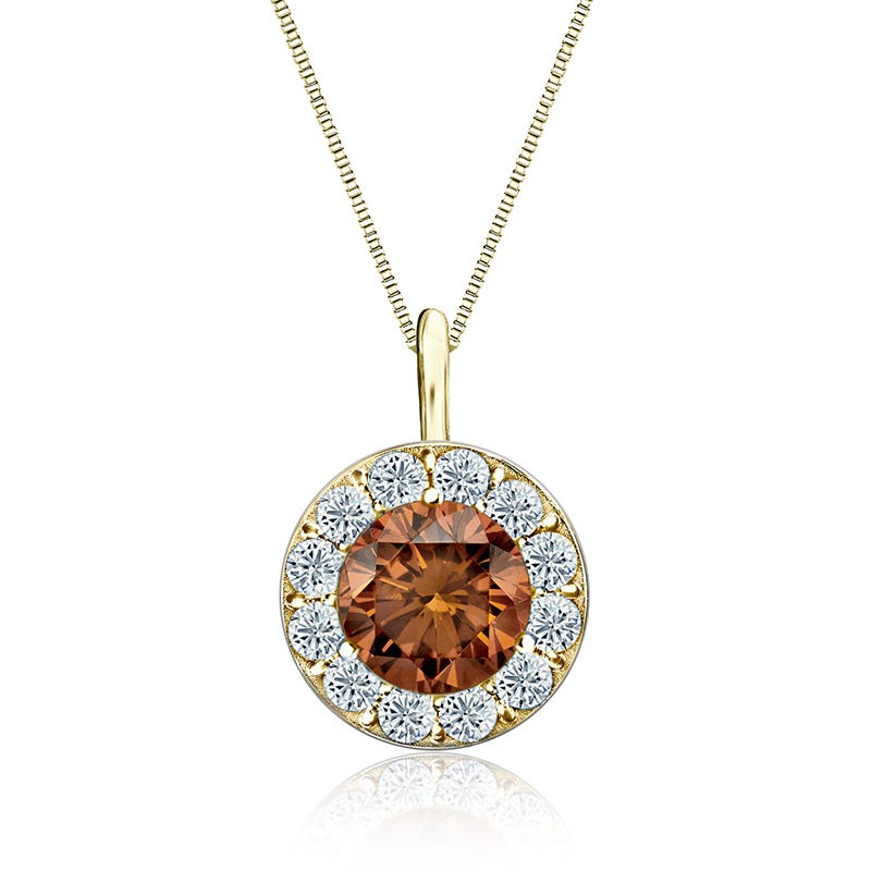 Champagne & White 2ct. Diamond Halo Pendant in 14k Yellow Gold