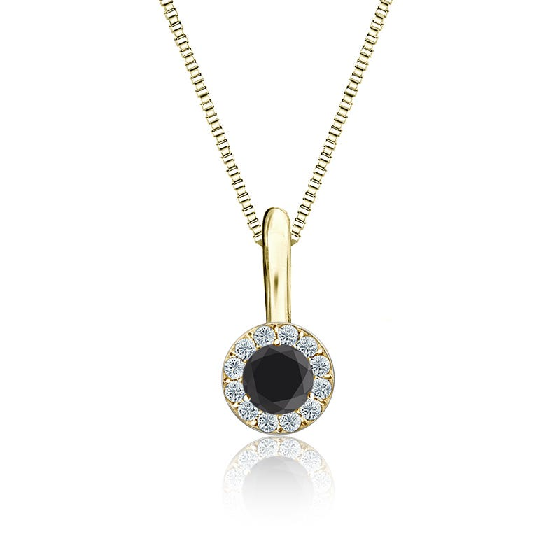 Black & White Diamond Halo ¼ct. Pendant in 14k Yellow Gold