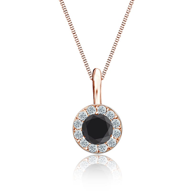 Black & White Diamond Halo ½ct. Pendant in 14k Rose Gold