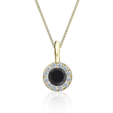 Black & White Diamond Halo 1/2ct. Pendant in 14k Yellow Gold