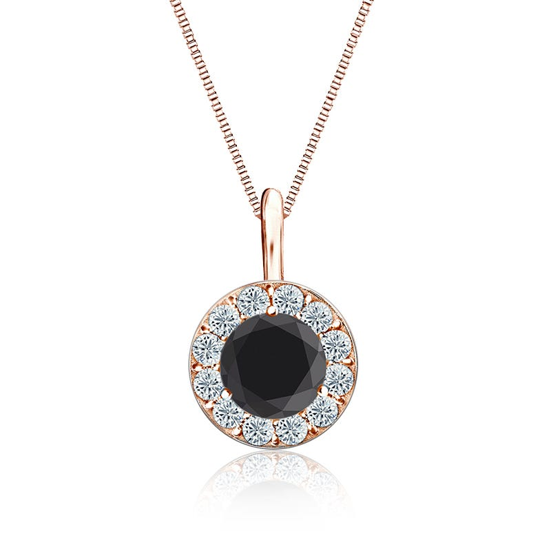 Black & White Diamond 1½ ct. Halo Pendant in 14k Rose Gold