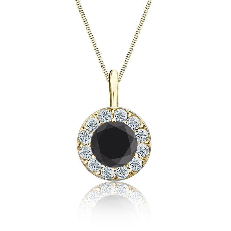 Black & White Diamond Halo Pendant 2ct. in 14k Yellow Gold