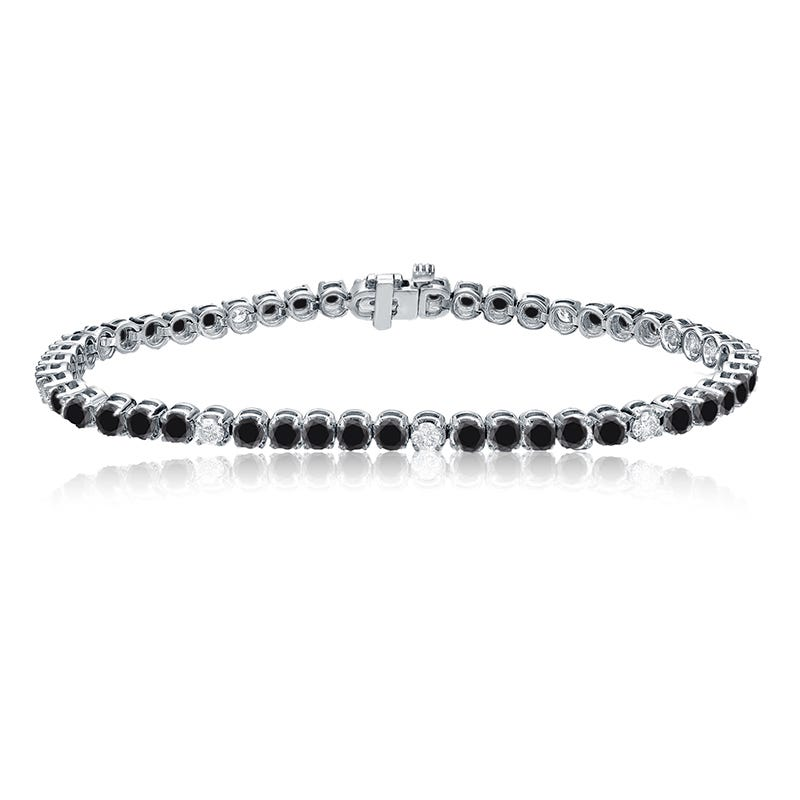 Black & White 3ctw. Diamond Tennis Bracelet in 14k White Gold