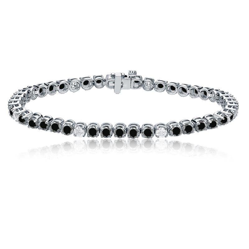 Black & White 6ctw. Diamond Tennis Bracelet in 14k White Gold