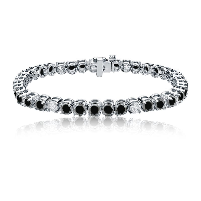 Black & White 7ctw. Diamond Tennis Bracelet in 14k White Gold