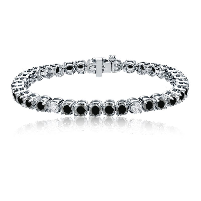 Black & White 8ctw. Diamond Tennis Bracelet in 14k White Gold